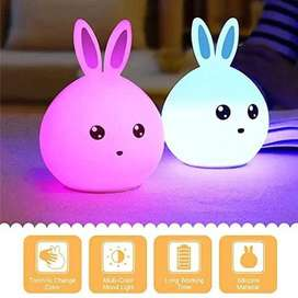 Rechargeable Cute Rabbit Silicone LED Night Light Lamp USB