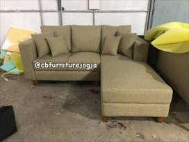 sofa tamu L dobel sandaran, super Kualitas