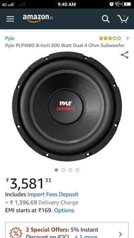 PYLE 8inch subwoofer with box