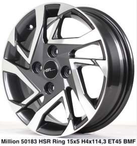 velg recing 	MILLION 50183 HSR R15X5 H4X114,3 ET45 DARK GREY POLISH