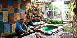 pembuatan kolam air mancur minimalis dan tebing
