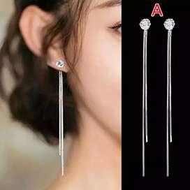 Anting Fasihon Wanita Korea Style Model Stud Diamond Mix Rantai