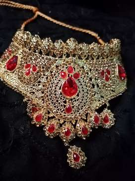 Bridal set with mala jhumar all