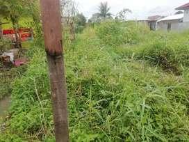 Dijual Tanah Bebas banjir Tinggi 1/2 meter sudah pondasi dkt jln besar