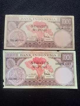 2 lembar uang kuno 100 rupiah thn 1959