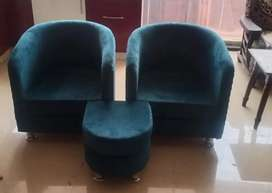Teal blue color two sofa chair with ottoman