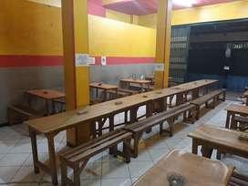 Meja kursi warkop/ angkringan (meja, kursi, tv, kipas dll)