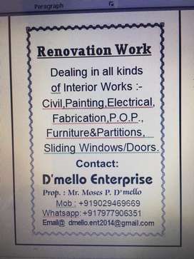 DEALING IN ALL KINDs OF RENOVATION INTERIOR WORKS