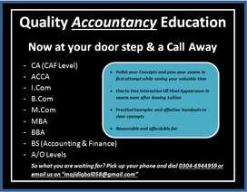 Home & online tuition for A levels, BBA, BCOM, MBA, MCom, ACCA, CA