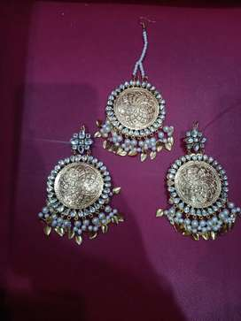 Heavy new earrings with maang tikka light weight  wholesale rate.