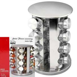 ROTATING SPICE CAROUSEL 16 GLASS JARS WITH STAINLESS STEEL CAP & STAND