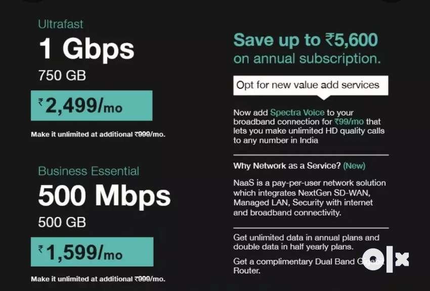 Spectra Gigafiber High-Speed Broadband connection