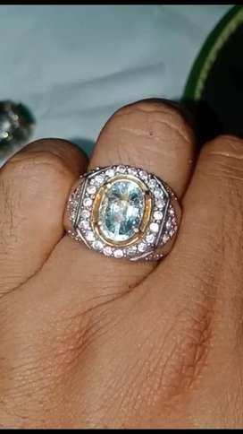 Natural aquamarin.. Ring silver