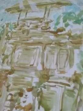 Lukisan Cat Air, Ukuran A4. Karya YS.