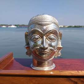 Old  silver  mixed  bronze  Shiva  head for  sale