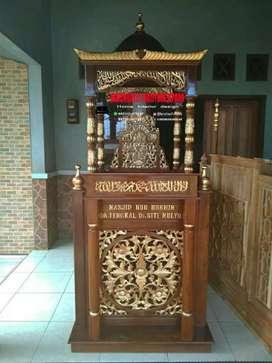 Mimbar masjid kubah kayu jati