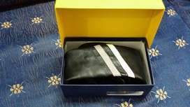 Brand new pure Black Leather Necktie With Box