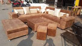 6 Seater sofa + Centre Table + 2 puffy Price only