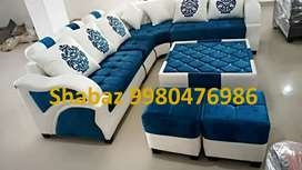 RJ11 Brand new Corner l shape fabric sofa with 3 years warranty call