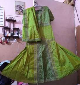 Embroider maxi with dupata parrot green colour