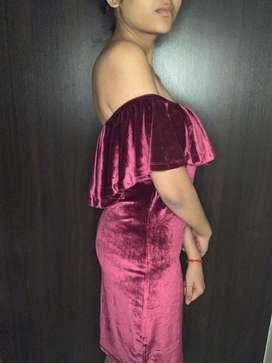 Burgandy velvet dress
