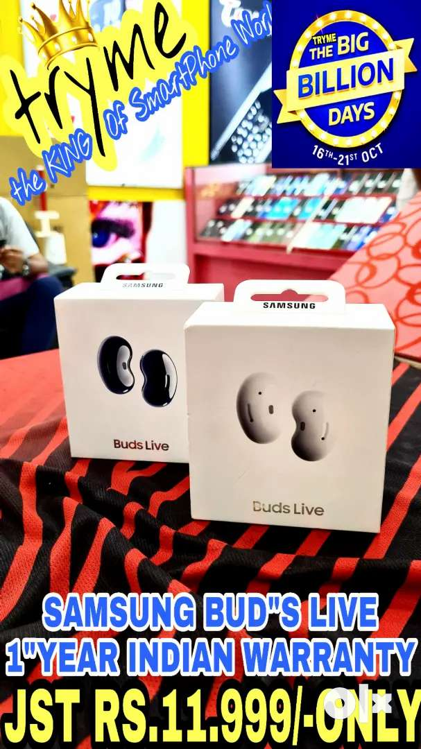 TRYME GALAXY BUDS LIVE 1Year Indian Warranty Full kit Box 0