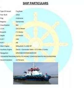 Jual tongkang 1 seet 270 feet thn 2012 tag boud thn 2012 MURAH