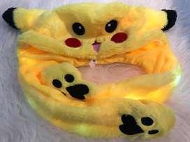 Bunny hat pikachu led/ topi anak tik tok
