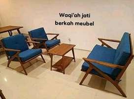 Sofa tamu model Retro modern, 2,1,1, bahan kayu jati tua terbaik
