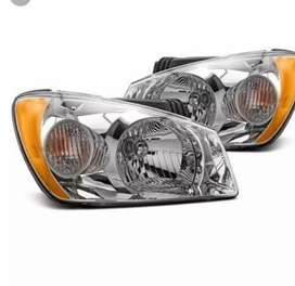 Cars headlights and mirrors