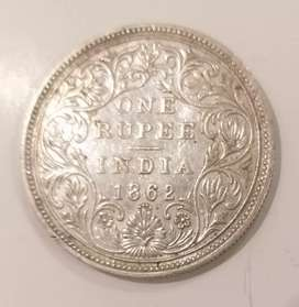 Rare Antique 160 year old 1 Rupee Silver Coin