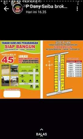 Dijual tanah kavling siap bangun di Kedungbocok,Tarik,Sidoarjo