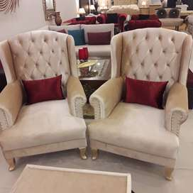 Wing chairs with table