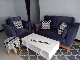 Sofa 21 Double Sandaran + meja dan Stool,