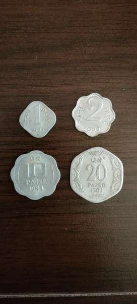 Antique 1,2,10 and 20paisa. Rare collection of coins.