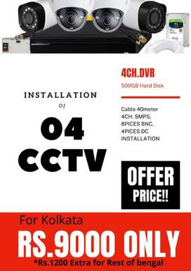 04 pices CCTV installation Rs. 9000/-