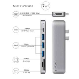 dodocool Alloy 7-in-1 Dual USB-C with 4K Card Reader for MacBook Pro