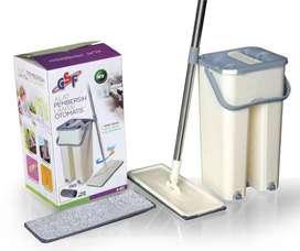 Alat Pel Lantai Praktis + Ember 2 Sekat Dry & Wash + 2 Kain GSF G 463
