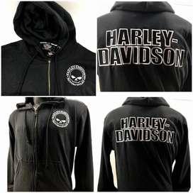 Jaket Hoodie Harley Davidson Scull Black
