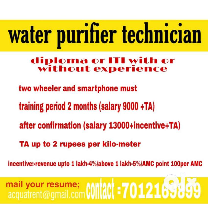 wanted water purifier technician 0