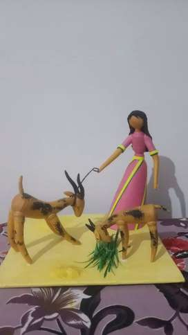 lady and goat paper sculpture