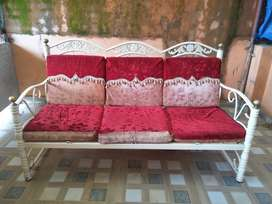 Sofa set white Powder coated with 2 chair