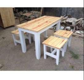 Meja Kursi Makan Set cafe resto dari Kayu Jati Belanda