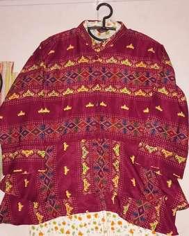 Baju batik bahan satin motif siger warna maroon
