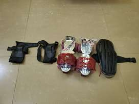 Roller skates with helmet and wrist guards