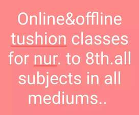 Online and offline tushion classes.for class nur. to 8th .all sub.
