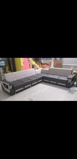 Grey &Crim Leather Finish Sofa with Quilt Pattern or 8 Seater Sofa Set