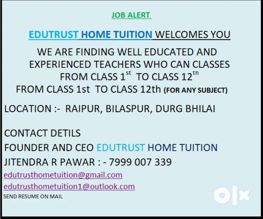 We need to teacher for home tuitions