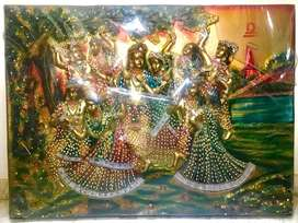 NewWall hanging handmade Radha Krishna Sculture, made on a wooden ply