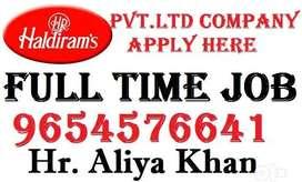 Haldiram Company Full Time Job Helper Store keeper Supervisor Now